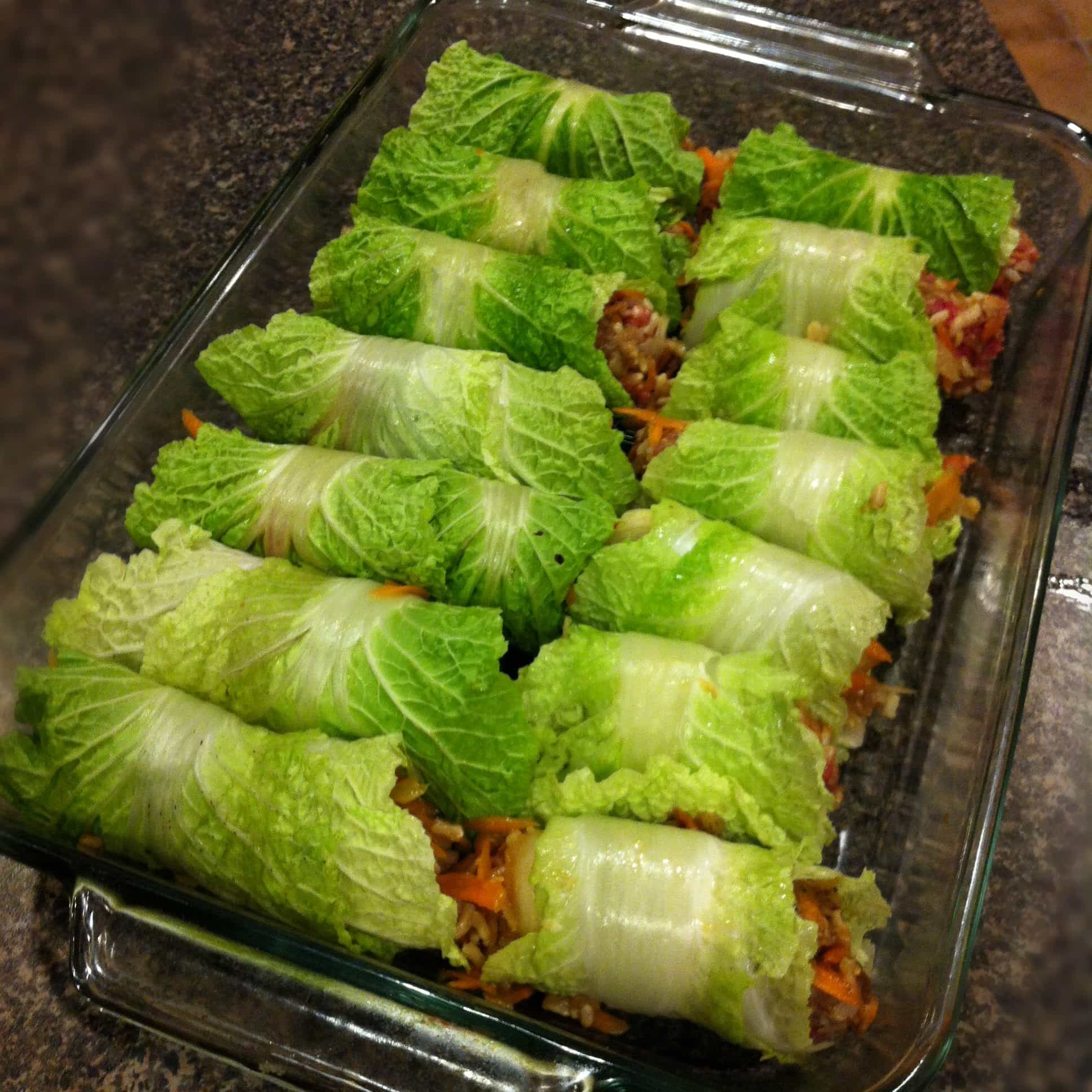 baking tin of stuffed cabbage rolls