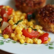 Easy Side Dish: Corn, Tomato and Basil Saute