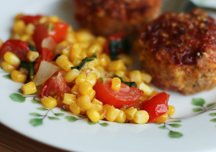 Easy Side Dish: Corn, Basil and Tomato Saute | Aggie's Kitchen