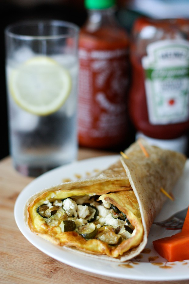 Roasted Zucchini and Feta Frittata Wrap | aggieskitchen.com #eggs #wrap #zucchini #breakfast #vegetarian