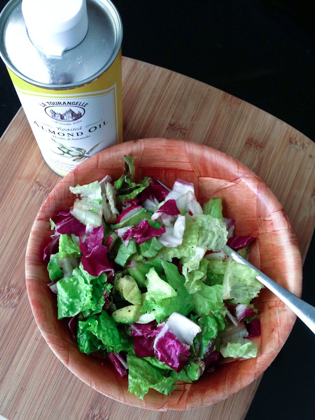 Salad Of The Week: Mixed Greens, Avocado and Radishes with Roasted Almond Oil | aggieskitchen.com  #salad #healthy #vegetarian #avocado