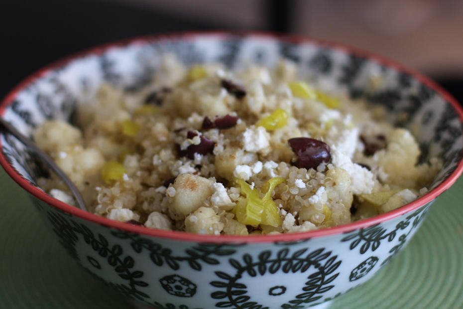 Greek Grilled Cauliflower and Vidalia Onion Quinoa Salad | AggiesKitchen.com  #heatlhy #recipe #quinoa #greek #salad #grill