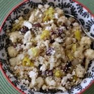 Greek Grilled Cauliflower and Vidalia Onion Quinoa Salad | AggiesKitchen.com #heatlhy #recipe #quinoa #greek #salad #grill