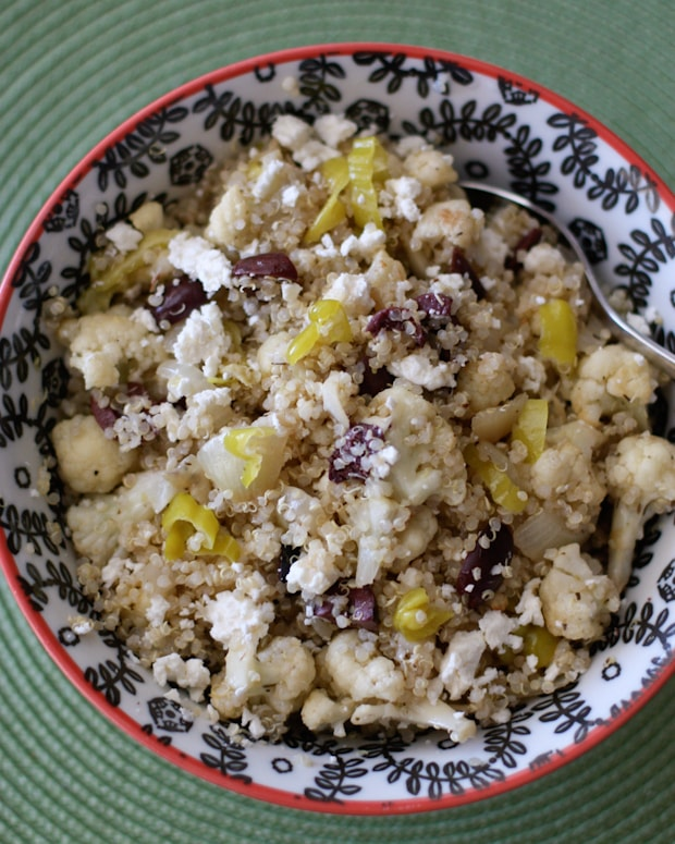 Grilled cauliflower and Vidalia onion make great additions to this flavorful, Greek inspired quinoa salad. A healthy side dish or vegetarian main dish. Recipe via aggieskitchen.com
