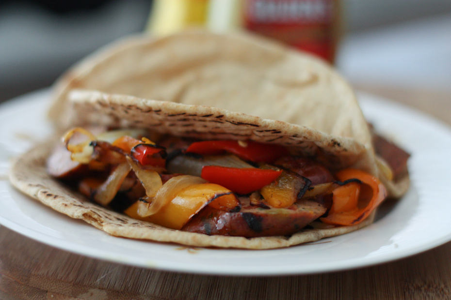 Grilled Italian Chicken Sausage and Peppers Pita Sandwiches | AggiesKitchen.com #grilling