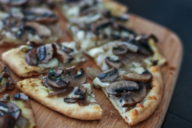 Grilled Portabella Mushroom Pesto Flatbreads | AggiesKitchen.com #grill #mushrooms #vegetarian #pizza #appetizer