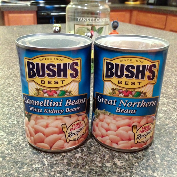 a can of Bush's cannellini beans and a can of Bush's great northern beans