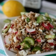 Garden Farro Salad with Feta | AggiesKitchen.com #salad #healthy #vegetarian