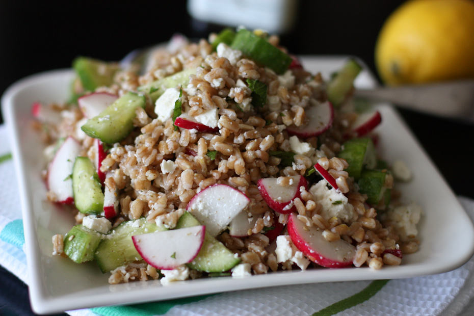 This Garden Farro Salad with Feta is packed with flavor and crunchy summer veggies!