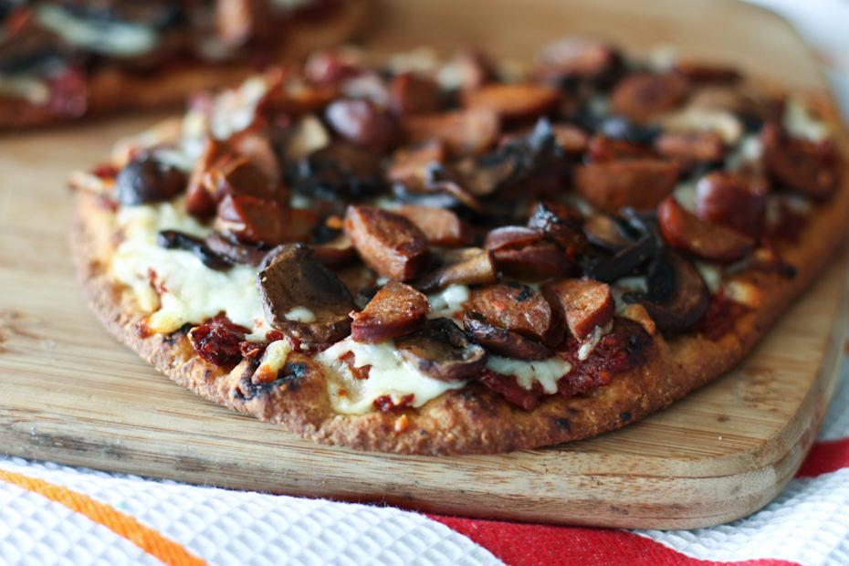 Andouille Sausage, Mushroom and Sun-Dried Tomato Naan Pizza   AggiesKitchen.com #pizza #mushrooms #sausage #flatbread