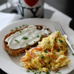 Scrambled Eggs with Smoked Salmon | AggiesKitchen.com #eggs #breakfast