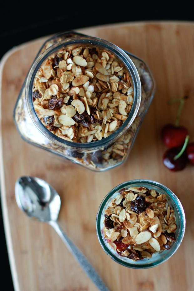 Cherry Almond Granola | AggiesKitchen.com #granola #healthy #breakfast #snack