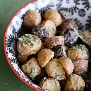 Mustard and Chive Potato Salad | AggiesKitchen.com #potato #salad #summer #recipe