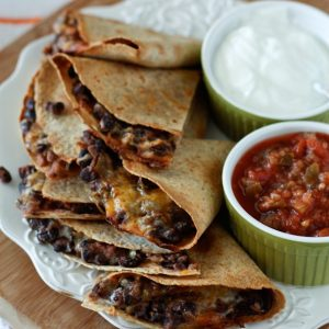 Oven Baked Black Bean and Cheese Quesadillas | AggiesKitchen.com #mexican #vegetarian #meatless #blackbeans