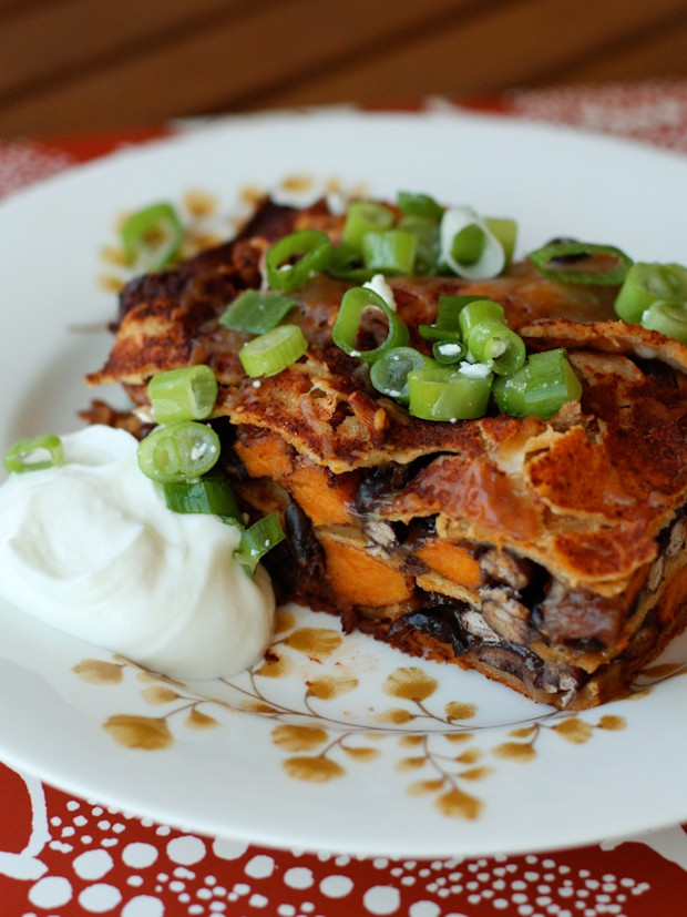 This Black Bean and Sweet Potato Enchilada Bake recipe is sponsored by ...