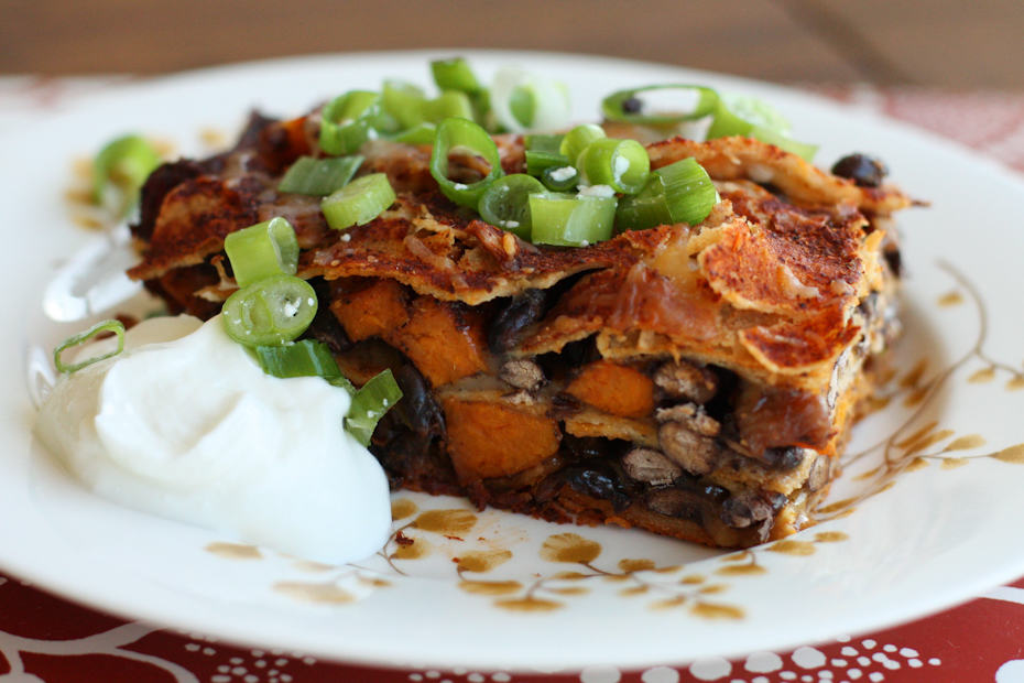 Black Bean and Sweet Potato Enchilada Bake | AggiesKitchen.com #mexican #blackbean #sweetpotato #vegetarian