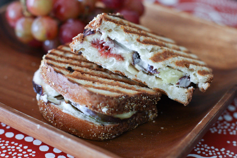 Fresh Fig, Goat Cheese, Honey and Almond Panini | AggiesKitchen.com #sandwich #fig