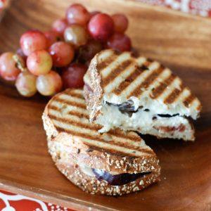 Fresh Fig, Goat Cheese, Honey and Almond Panini | AggiesKitchen.com #sandwich #fig