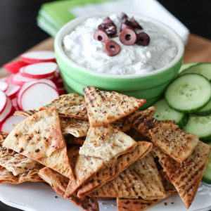 Kalamata Olive and Feta Dip with Lemon Pepper Pita Chips | AggiesKitchen.com