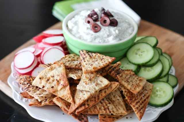 Kalamata Olive and Feta Dip with Lemon Pepper Pita Chips recipe - great dip to serve with fresh veggies!