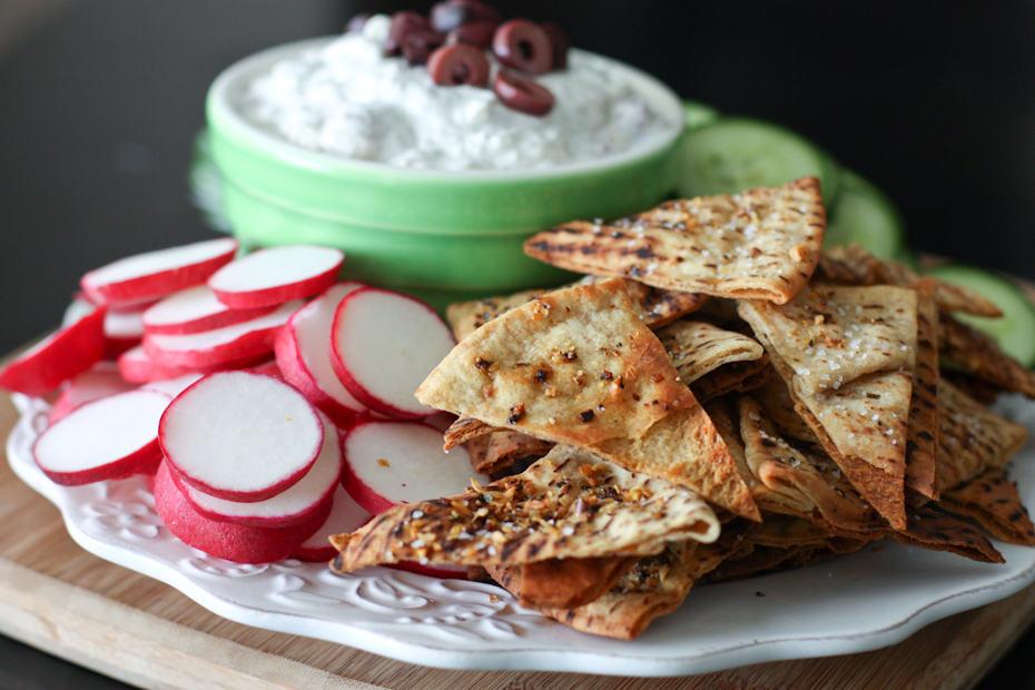 Kalamata Olive and Feta Dip with Lemon Pepper Pita Chips | AggiesKitchen.com