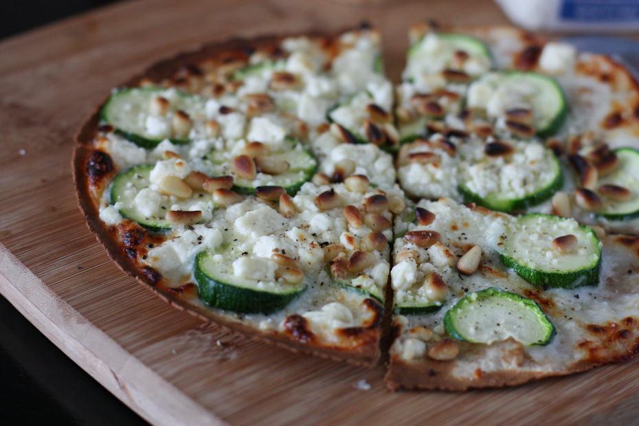 Skillet Zucchini and Feta Tortilla Pizza | AggiesKitchen.com #zucchini #pizza #recipe