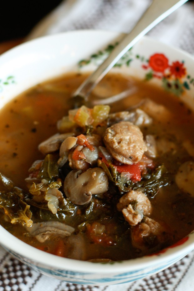 Chicken Sausage, Mushroom and Kale Soup | AggiesKitchen.com