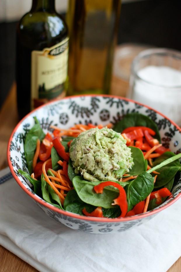 Avocado-Tuna Spinach Salad | AggiesKitchen.com