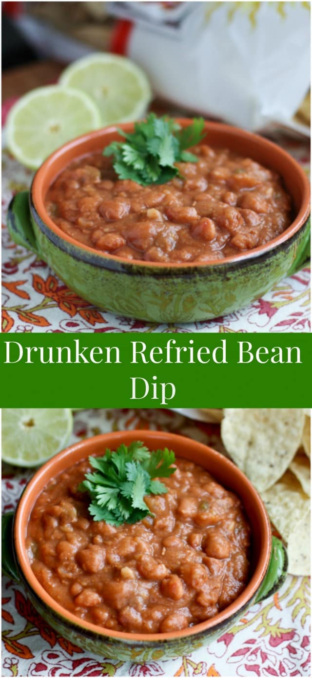 Homemade flavorful version of refried beans using a few shortcuts. Grab some tortilla chips and dig in!