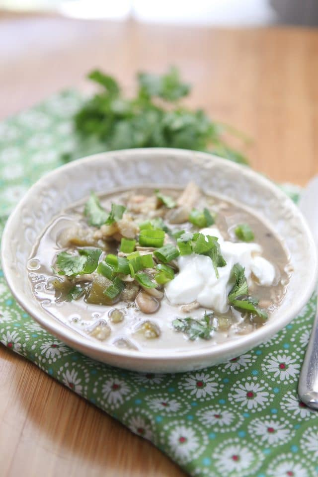 This Summer White Chicken Chili Verde is chock full of protein, vegetables and flavor. Delicious for a nutritious meal any time of the year! Recipe via aggieskitchen.com