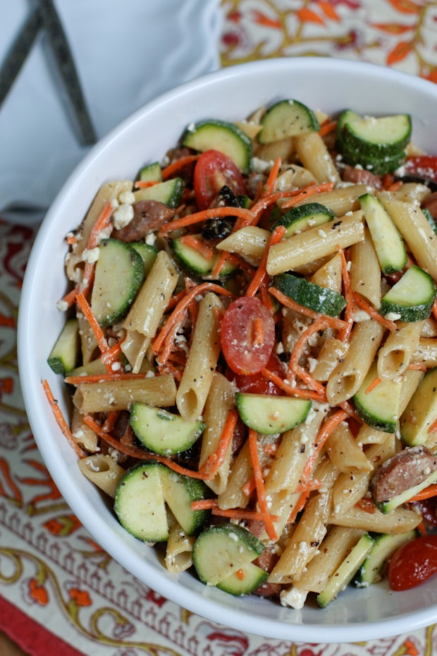 Garden Pasta Salad with Chicken Sausage | Aggie's KItchen