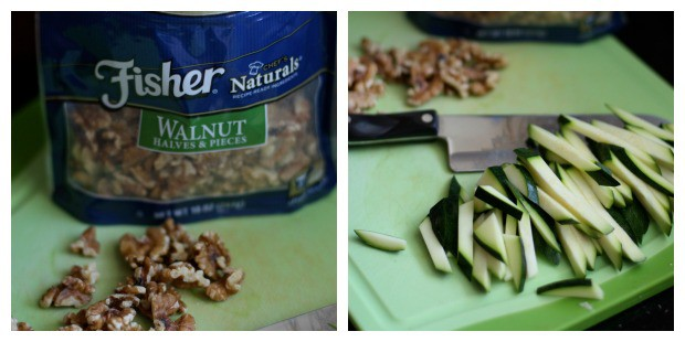 left picture - bag of Fisher walnut halves and pieces. right picture - zucchini strips on cutting board with knife and walnuts in background