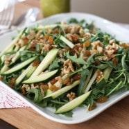 Zucchini and Walnut Arugula Salad with Basil Vinaigrette