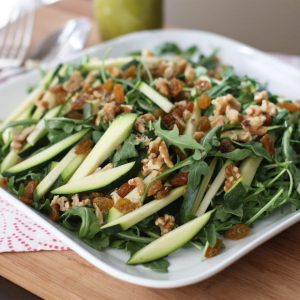Zucchini and Walnut Arugula Salad with Basil Vinaigrette