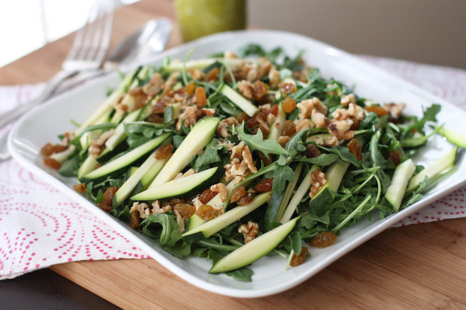 Zucchini and Walnut Arugula Salad with Basil Vinaigrette #thinkfisher