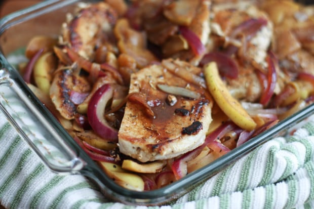 These autumn inspired Hard Cider Pork Chops with Apples and Onions make a great dinner your whole family will love.