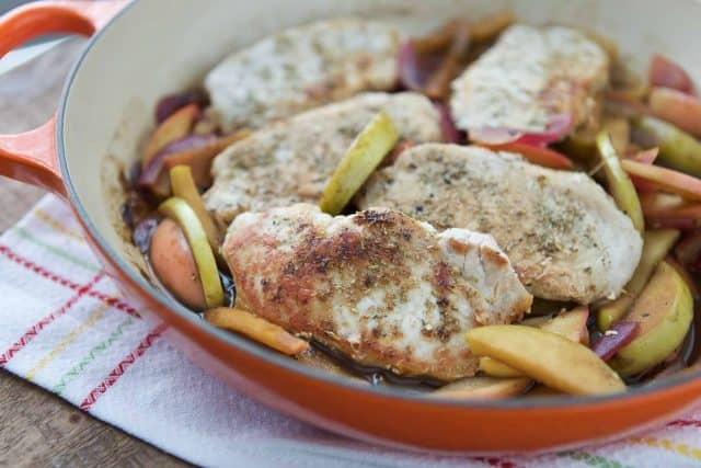 Fall inspired Hard Cider Skillet Pork Chops with Apples and Onions make a great one-pan meal