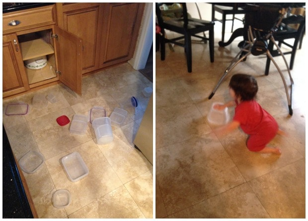 toddler boy crawling on floor and tupperware all over the floor