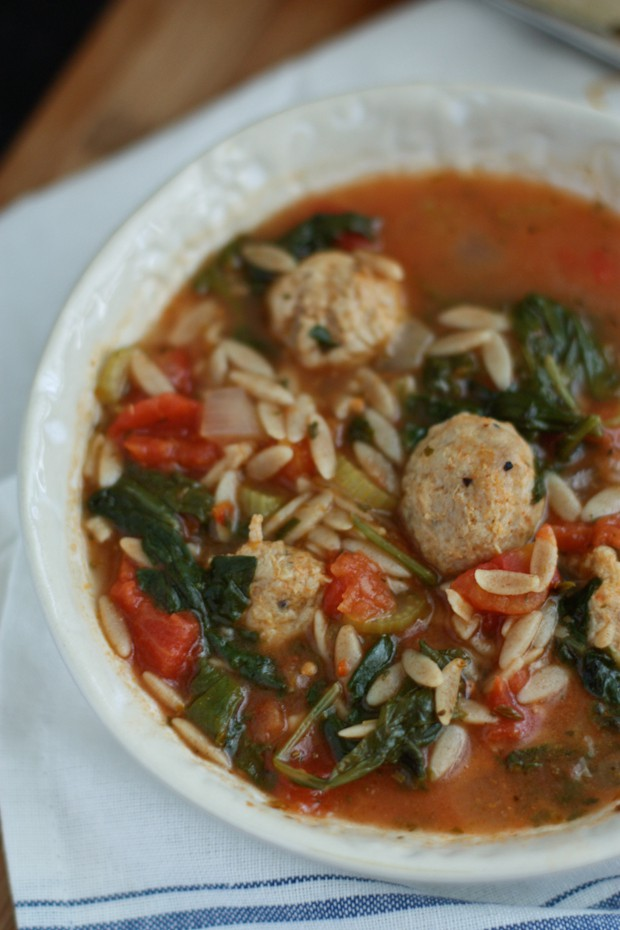 Italian Orzo Soup with Meatballs, Spinach and Tomatoes