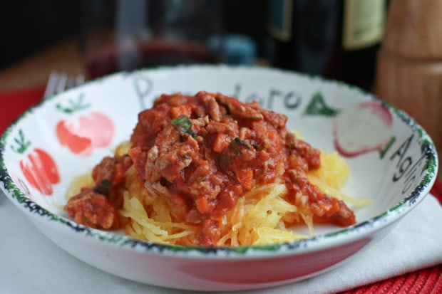 bowl of spaghetti squash covered in turkey bolognese sauce
