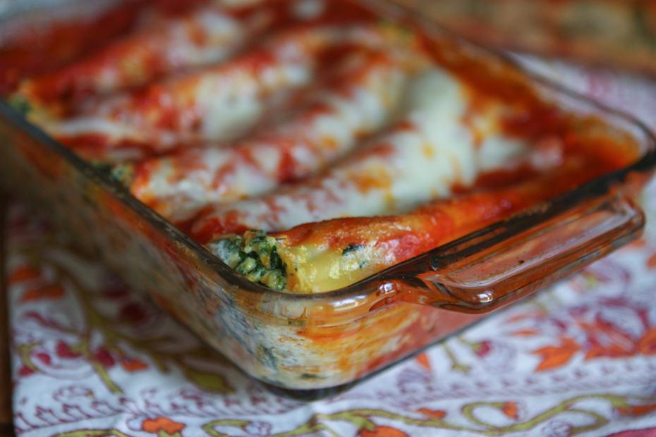 Butternut Squash and Spinach Manicotti