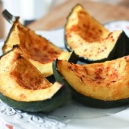 Enjoy seasonal acorn squash simply roasted and seasoned well with smoked paprika. Looks great on a plate and is good for you!