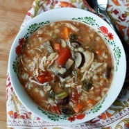 Slow Cooker Italian Chicken, Barley and Mushroom Soup