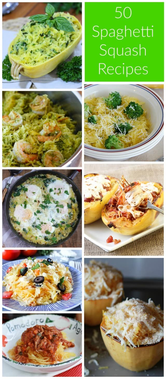 50 Ways To Cook Spaghetti Squash! So many delicious recipes, great for anyone trying to incorporate this delicious vegetable into their diet.