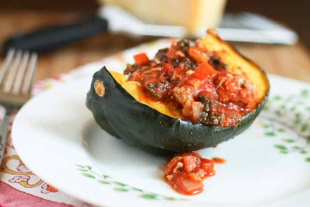 Roasted Acorn Squash Bolognese is hearty, healthy and low carb. Enjoy it on cozy winter nights.