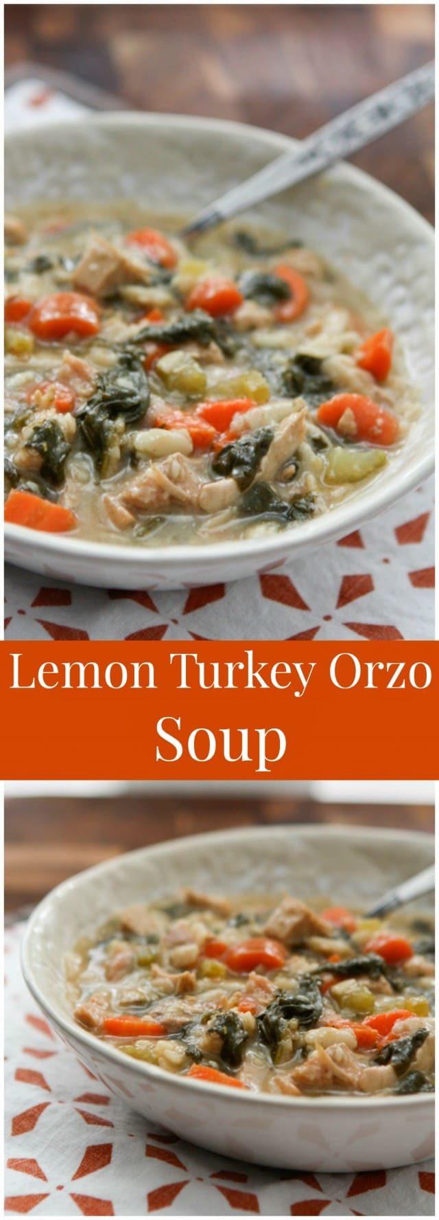 Use leftover cooked turkey (or rotisserie chicken) in this hearty and healthy Lemon Turkey Orzo Soup. Perfect to warm you up during the winter!