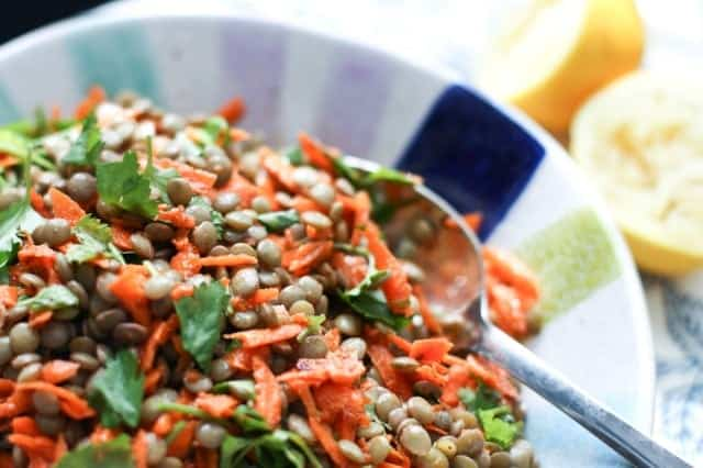 Lentil Salad with Carrots and Cilantro is a filling vegetarian salad that is filled with protein and flavor. Serve it as a main meal, a side dish or snack.