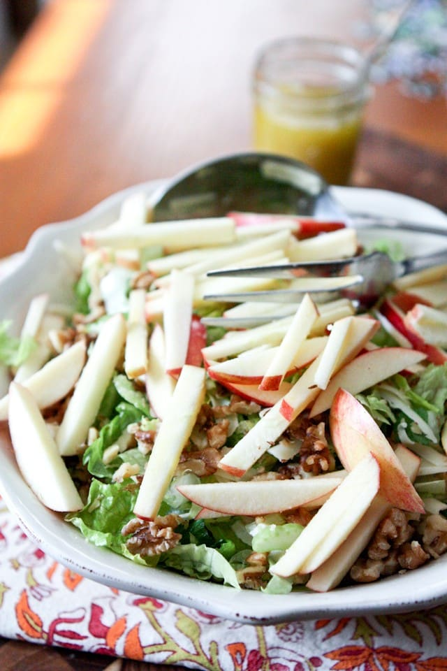 Apple, Celery and Walnut Salad with Honey Dijon Vinaigrette | Aggie's Kitchen #ThinkFisher