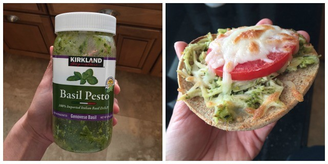 two picture collage; hand holding jar of Kirkland basil pesto; hand holding half of an English muffin topped with shredded chicken, pesto, and tomato with melted mozzarella cheese