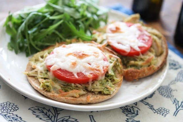 Slow Cooker Pesto Chicken Melts are an easy family friendly meal that can be prepared in your crockpot for busy weeknight dinners.